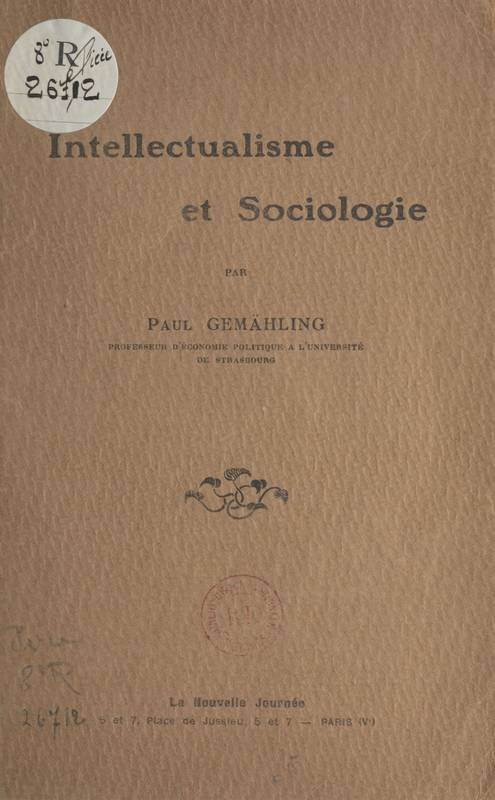 Intellectualisme et sociologie