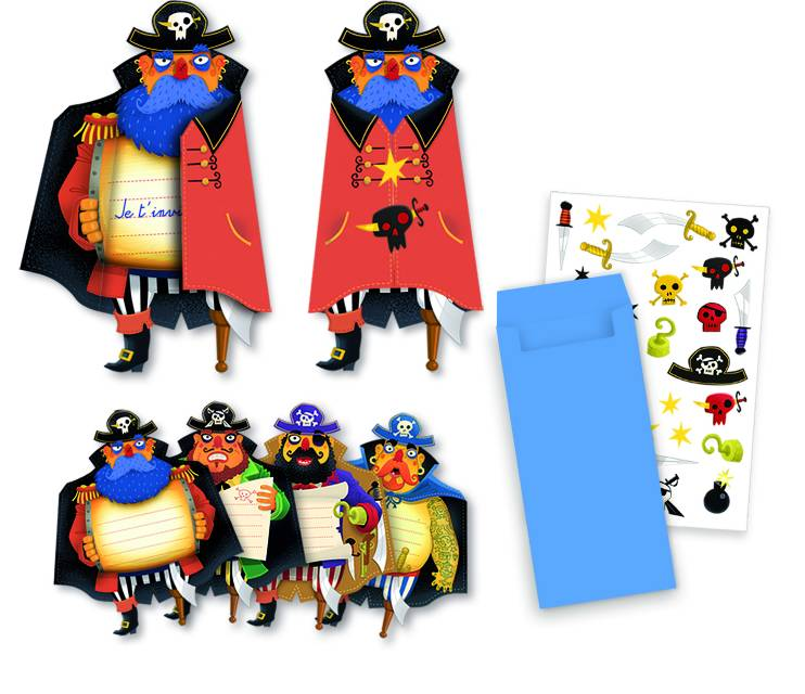 Pirates 8 cartes invitation