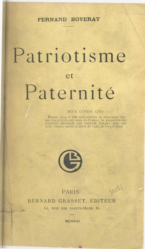 Patriotisme et paternité
