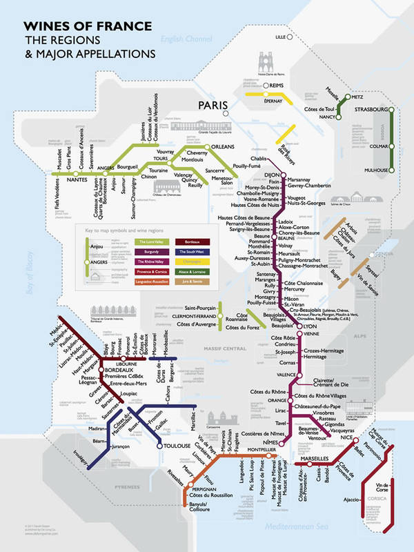 Metro Wine Map of France, The regions and Major appellations
