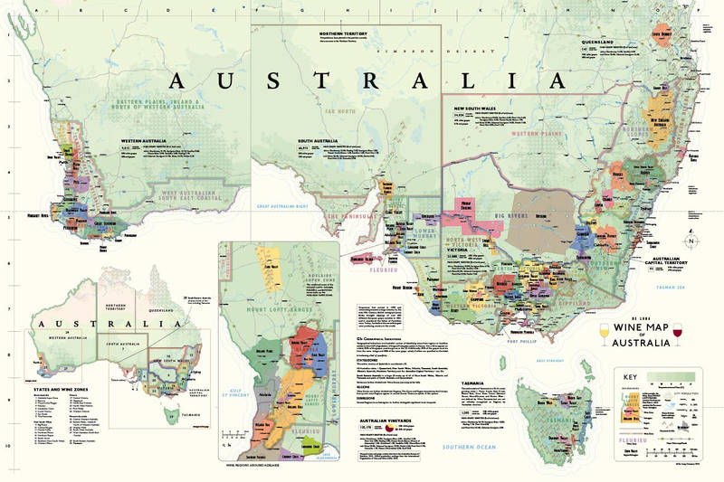 Affiche Wine Map of Australia