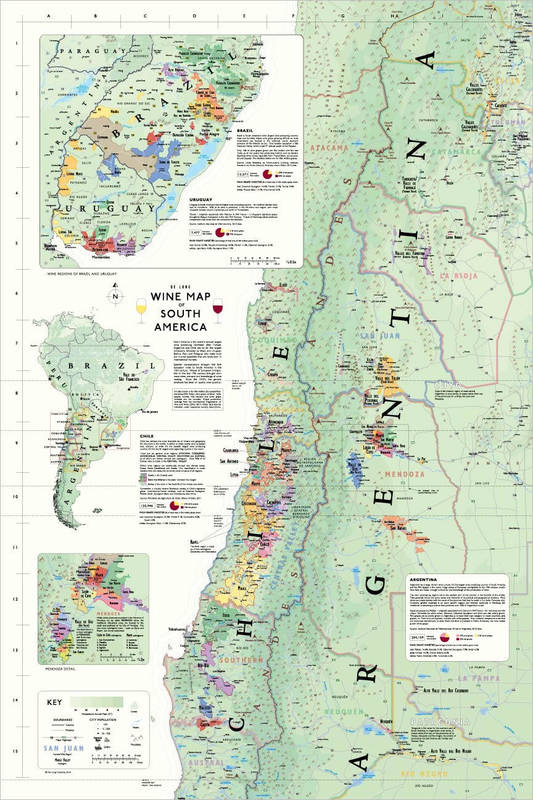 Affiche Wine Map of South America