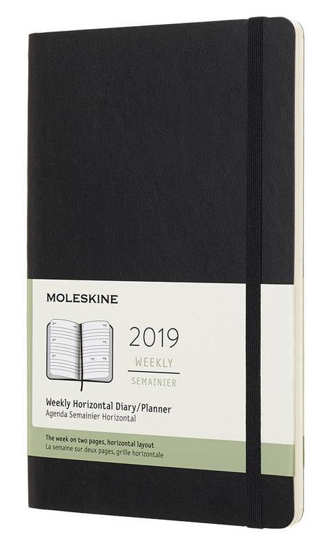 AGENDA 2019 SEMAINIER HORIZONTAL GRAND FORMAT NOIR SOUPLE
