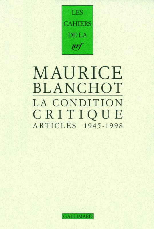La Condition critique, Articles, 1945-1998