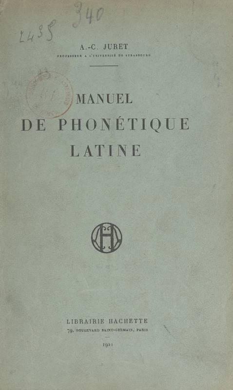 Manuel de phonétique latine