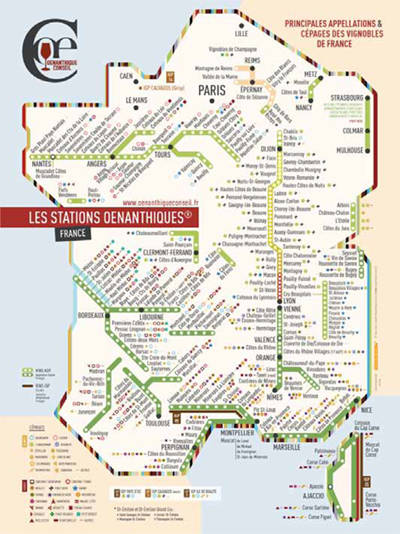 Oenanthiques, Wines & Grapes of France Map,