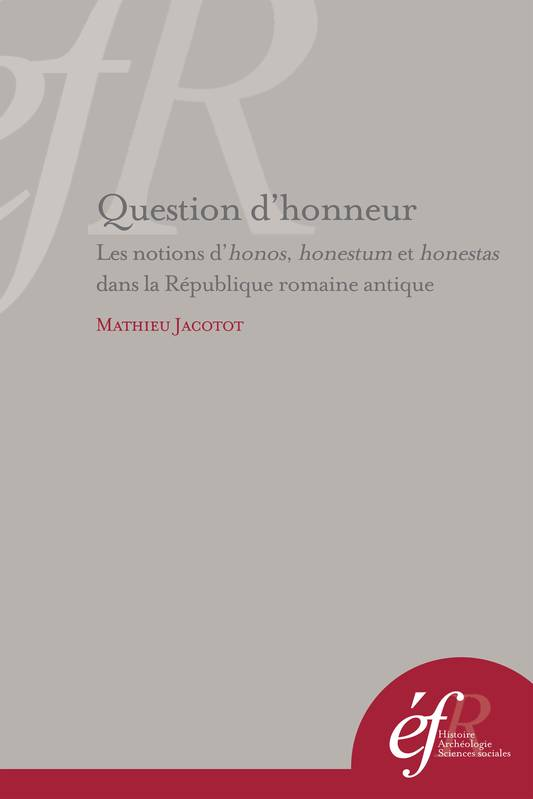 Question d'honneur, Les notions d'honos, honestum et honestas dans la République romaine antique