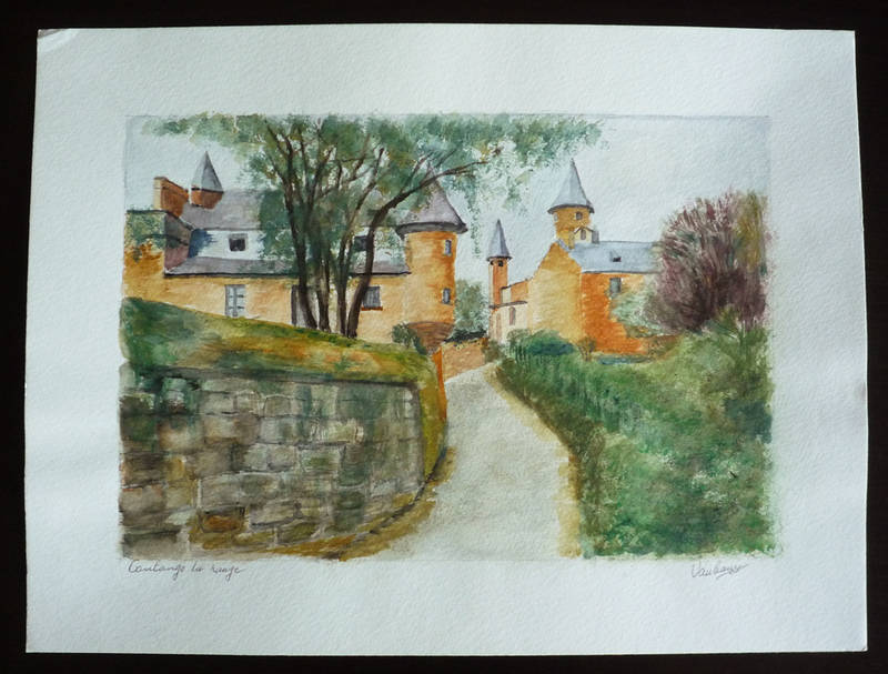 Aquarelle originale de Vaubourg : Collonges-la-Rouge