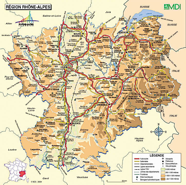 carte rhone alpes - Image