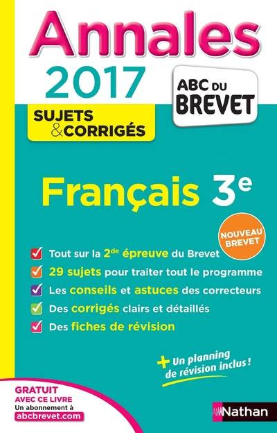 livre annales abc du brevet 2017 fran ais 3e mimouni c line nathan annal abc breve. Black Bedroom Furniture Sets. Home Design Ideas