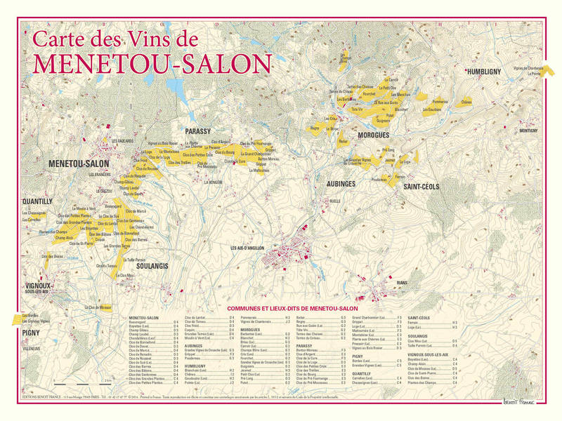 Cartes 30x40 cm benoit france des vignobles de france for Commune menetou salon