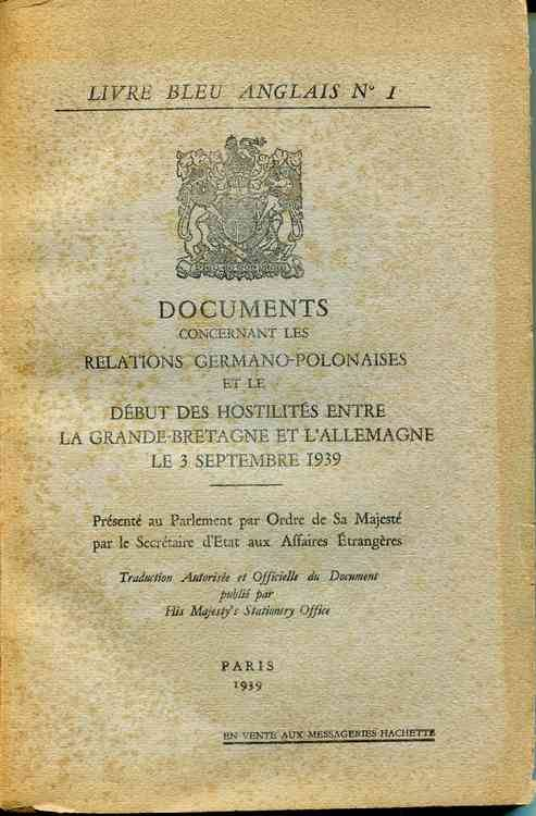 Livre Documents Concernant Les Relations Germano Polonaises