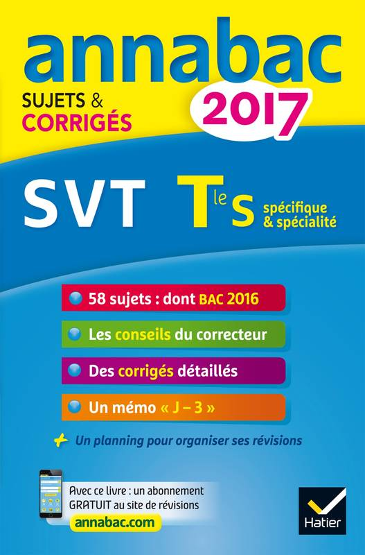 livre annales annabac 2017 svt tle s sujets et corrig s du bac terminale s jean claude herv. Black Bedroom Furniture Sets. Home Design Ideas