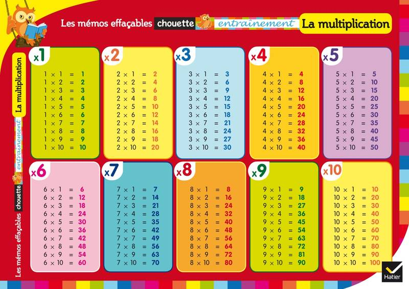Livre les m mos effa ables la multiplication collectif for La table de multiplication