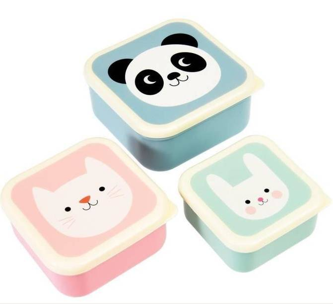 Miko Cookie et Bonnie panda chat lapin Set de 3 boites casse croute