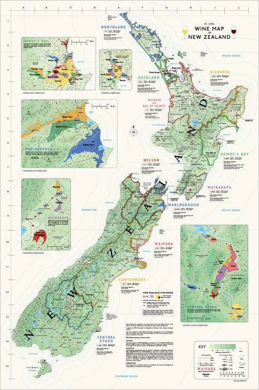 Affiche Wine Map of New Zealand