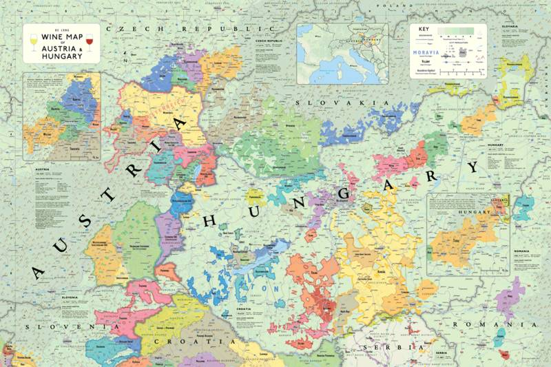 Affiche Wine Map of Austria and Hungary