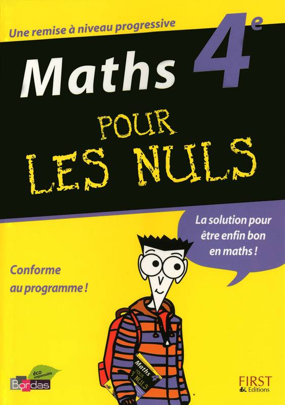 livre maths 4 me pour les nuls alvado jean charles first 9782754011808 librairie le forum. Black Bedroom Furniture Sets. Home Design Ideas