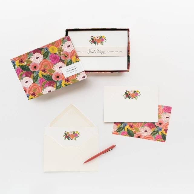 Set de 12 cartes + enveloppes Juliet Rose