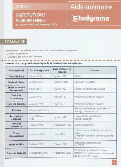 INSTITUTIONS EUROPEENNES 3E EDITION