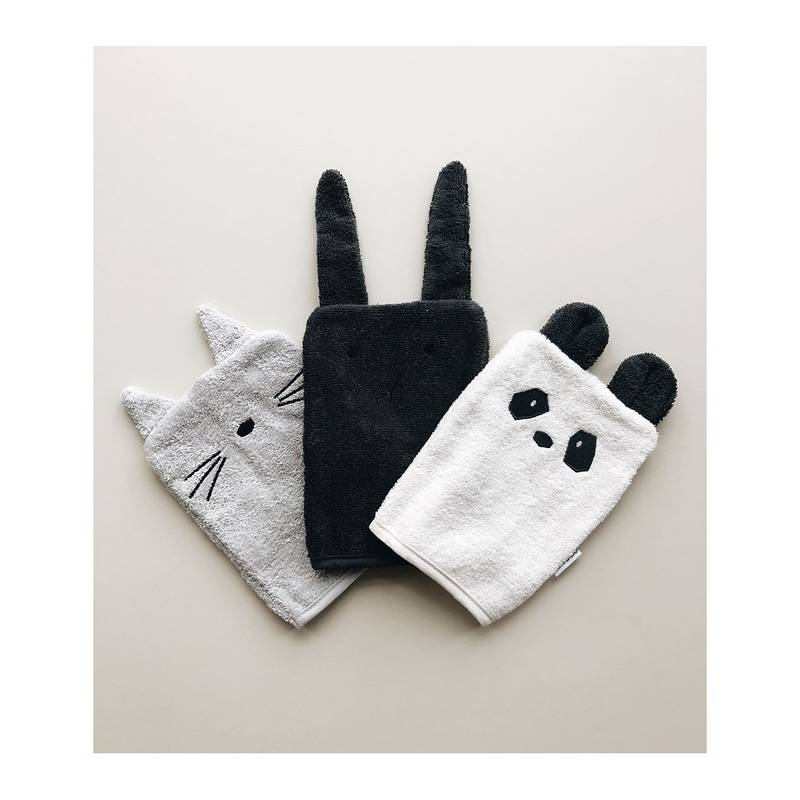 Lot de 3 gants de toilette Panda Lapin Chat noir g