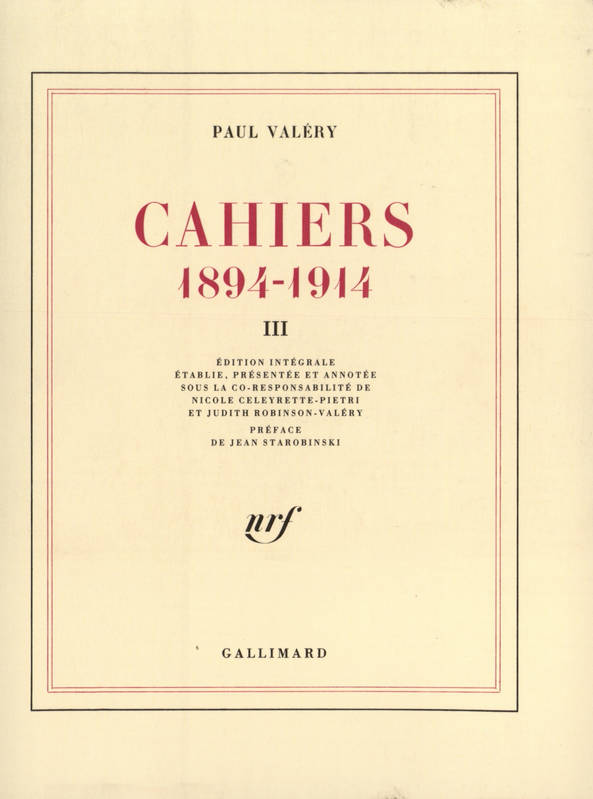 Cahiers ., Cahiers (Tome 3), (1894-1914), 3
