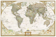WORLD POLITIQUE ANTIQUE GRAND CARTE MURALE PLASTIFIEE