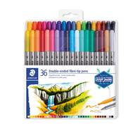 Feutre de coloriage double pointe - Etui de 36 feutres de coloriage - Couleurs assorties