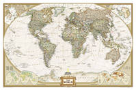 WORLD POLITIQUE ANTIQUE CARTE MURALE PLASTIFIEE