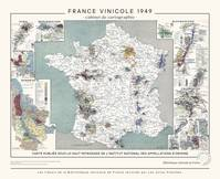 Carte de France vinicole, affiche décorative vintage (1949)