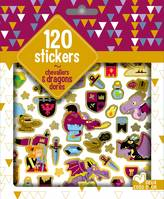 120 stickers chevaliers et dragons dorés - pochette d'autocollants
