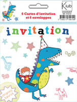 6 cartes d'invitation avec enveloppe,illustrations diverses