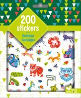 200 stickers animaux sauvages - pochette d'autocollants
