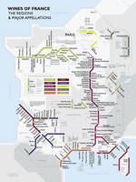 Affiche Metro Wine Map of France, The regions and Major appellations