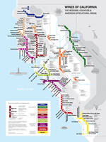 Affiche Metro Wine Map of California