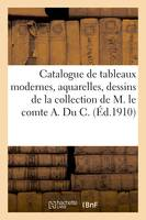 Catalogue de tableaux modernes, aquarelles, dessins par Barye, Boudin, Boulard, de la collection de M. le comte A. Du C.