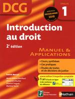 DCG, 1, Introduction au droit - 2e édition, manuel & applications