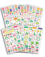 8 planches de 500 stickers d'organisation Lama
