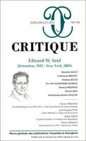 REVUE CRITIQUE 793-794 : SAID APRES SAID