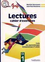 Lectures : cahier d'exercices CE1, cahier d'exercices
