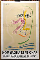 PICASSO : HOMMAGE A RENE CHAR. Affiche litho originale 1969.