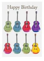 Happy Birthday Card - Jazzy Acoustic Guitar Design, 7 x 5 Inches