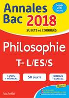 Annales Bac 2018 Philosophie Term L, ES, S