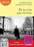 Et tu n'es pas revenu : 1 Cd  Mp3, Livre audio 1 CD MP3
