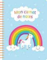 Mon carnet de notes (unicorn blue)